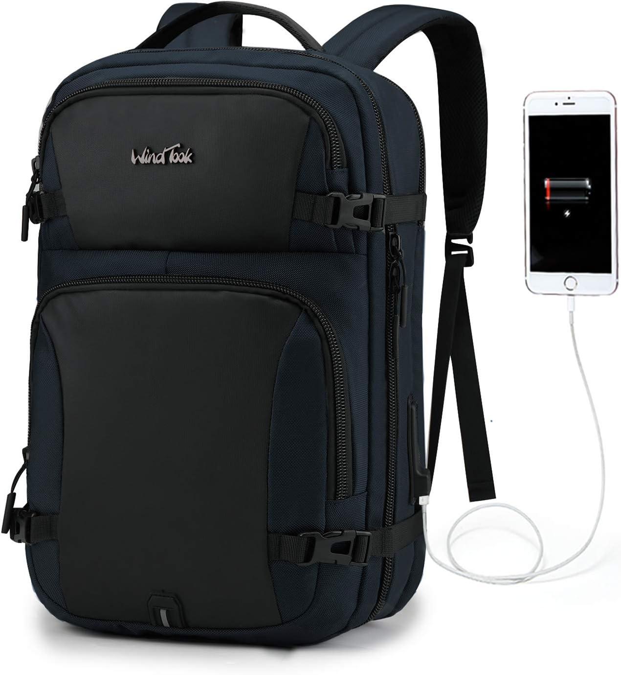 Wind Took Mochila de portátil con Puerto USB para 15.6 Pulgadas Multiusos Mochila Ordenador portátil Maletas de Cabina Impermeable para Trabajo Escuela viaja Mochila Unisex -Azul