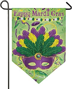 Oarencol Mardi Gras Feather Garden Flag Double Sided Home Yard Decor Banner Outdoor 12.5 x 18 Inch