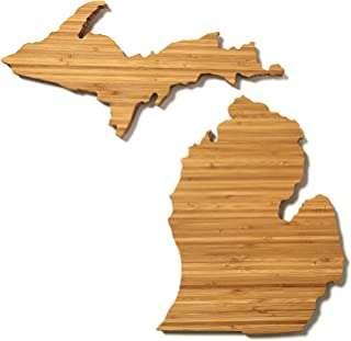 """product image for AHeirloom: The Original Michigan State Shaped Serving & Cutting Board. (As Seen in O Magazine, Good Morning America, Real Simple, Brides, Knot.) Made in the USA from Organic Bamboo, Large 15"""""""