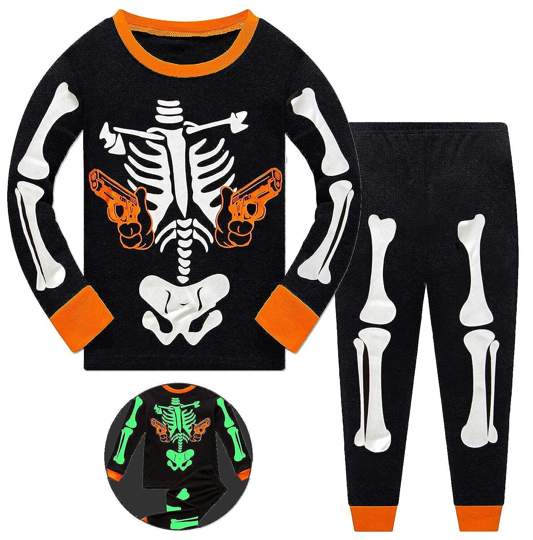Little Hand Toddler Boys Girls Skeleton Pajamas Party Costume Clothes Set Glow-in-The-Dark 2 Piece PJs Sleepwear Jammies