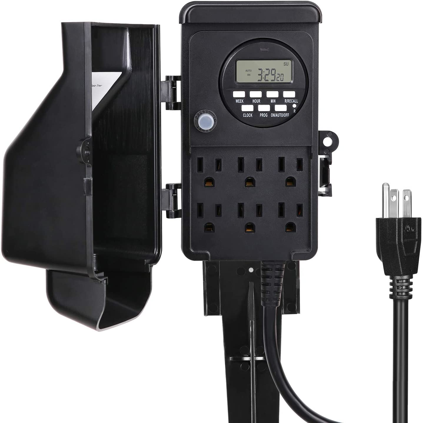 DEWENWILS Outdoor Digital Power Strip Timer, Outdoor Yard Stake Timer, Waterproof with 6 Grounded Outlets, 6ft Extension Cord, Digital Timer for Pool, Pumps, Ponds, Fountain, 1800W/15A Heavy Duty