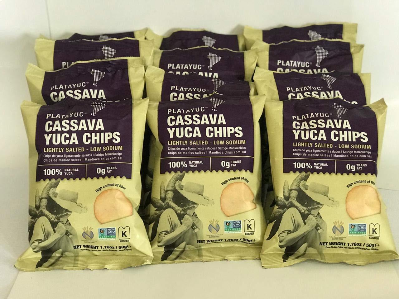 Platayuc Nature's Brand Yuca-Cassava chips lightly salted - Kosher - Gluten free - NON GMO - Vegan - 100% Natural - 0g Trans Fat - (Pack of 12) by Platayuc Nature's Brand