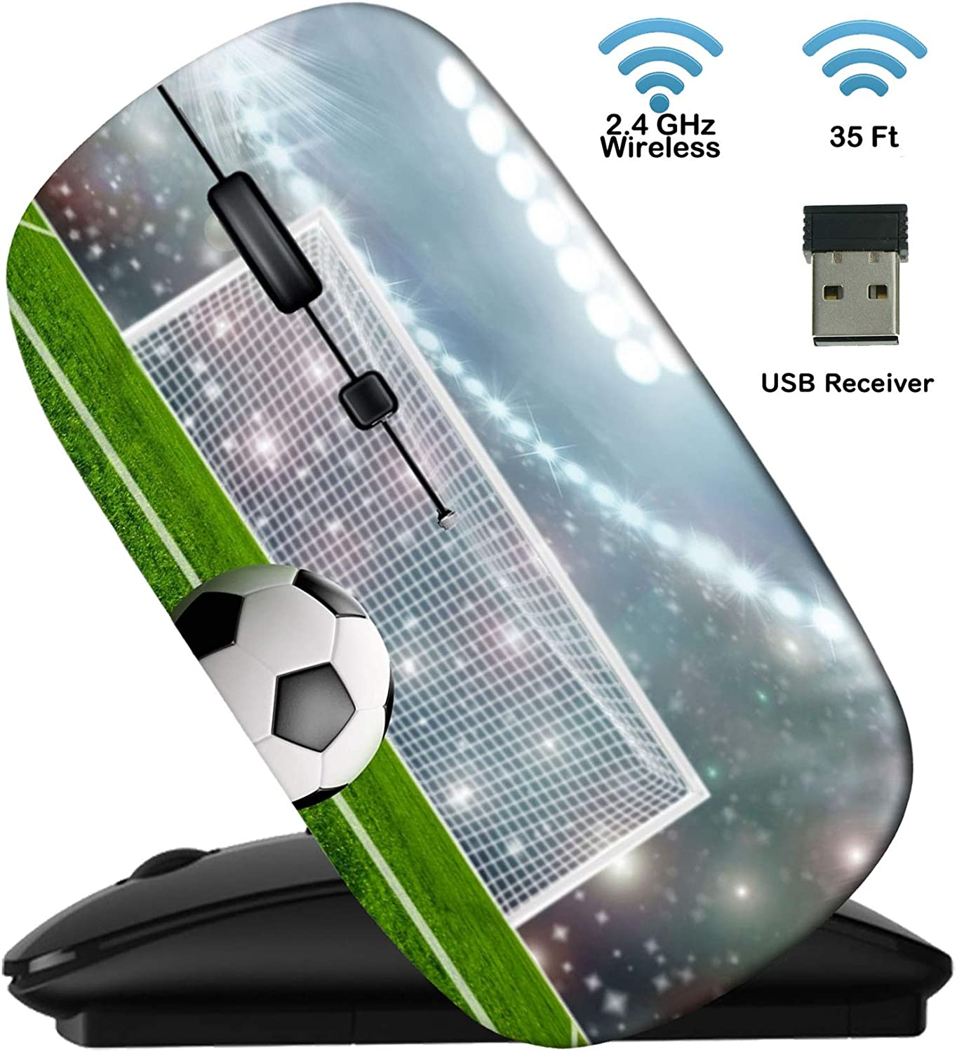 MSD Wireless Mouse Black Base Travel 2.4G Wireless Mice with USB Receiver, Noiseless and Silent Click with 1000 DPI for Notebook, pc, Laptop, Computer, mac Book, Image ID: 34502875 Soccer Ball on gre