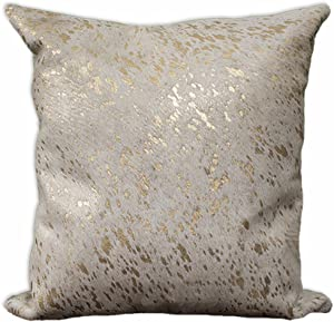rodeo Gold Metallic Cowhide Pillow Cover Double Sided (22x22)