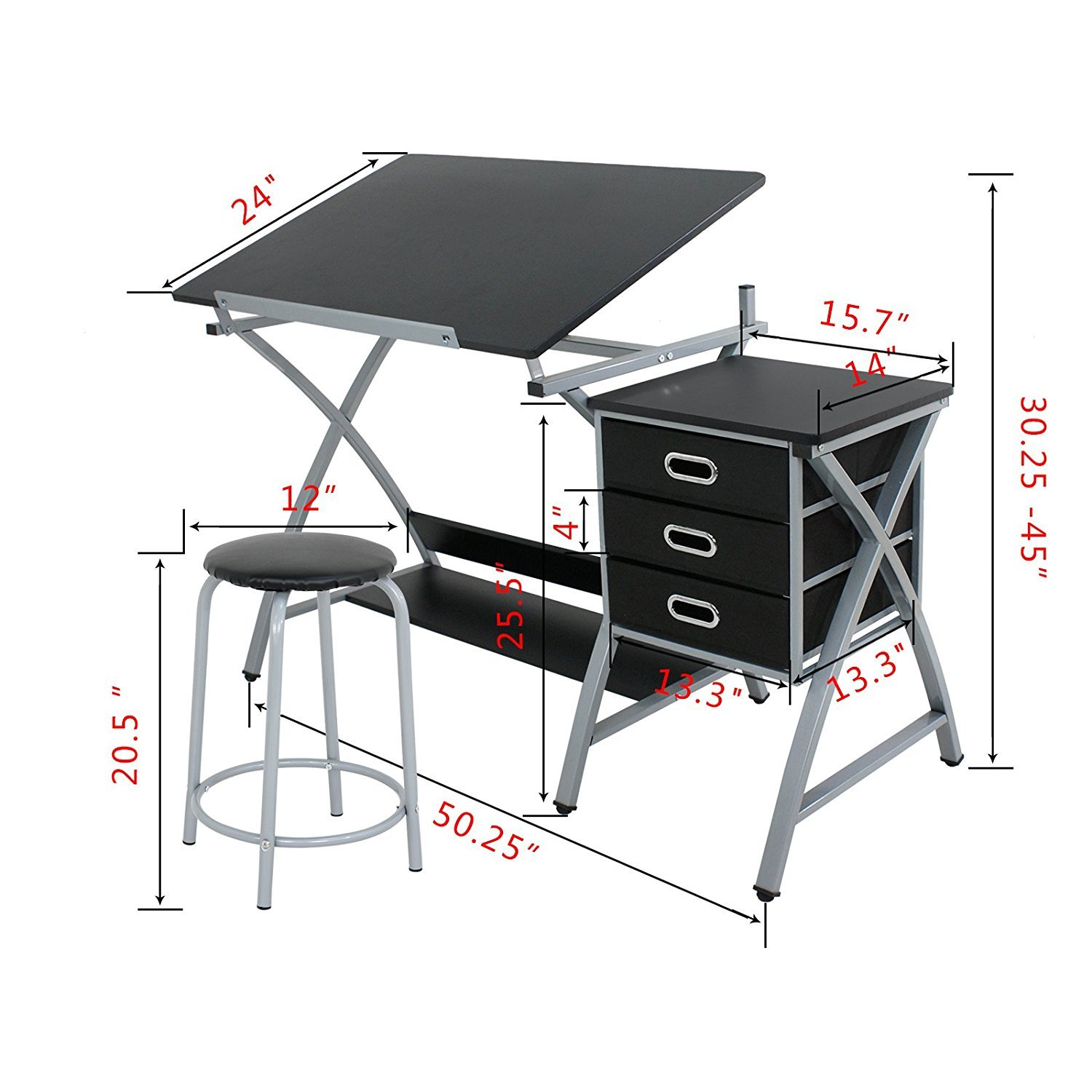 ZENY Tabletop Tilted Drawing Drafting Table Craft Drafting Desk Board Art Workstation w 2 Slide Drawers Stool,Tabletop Adjustable,Art Craft Supplies