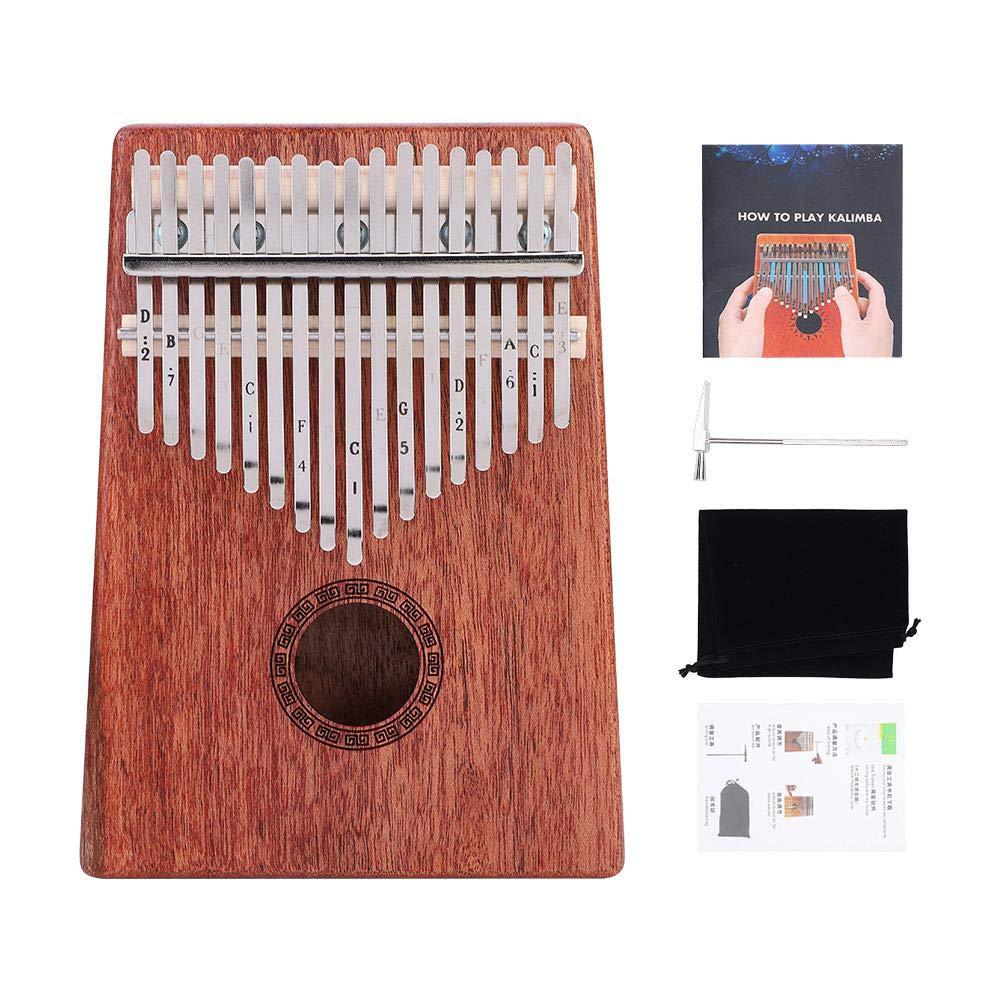 SolUptanisu 17-Key Kalimba Thumb Piano Portable Mahogany Wooden Body Thumb Musical Piano Musical Instrument with Tuning Hammer for Kids Children Adults Beginners by SolUptanisu