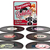 MISOSA 6-Piece Drink Coasters with Gift Box , Rockabilly Vinyl Coaster Set - Protect Furniture From Water Marks & Damage