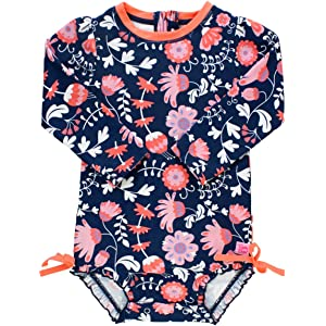 709b9465bd062 RuffleButts Baby/Toddler Girls UPF 50+ Sun Protection Long Sleeve One Piece  Swimsuit with