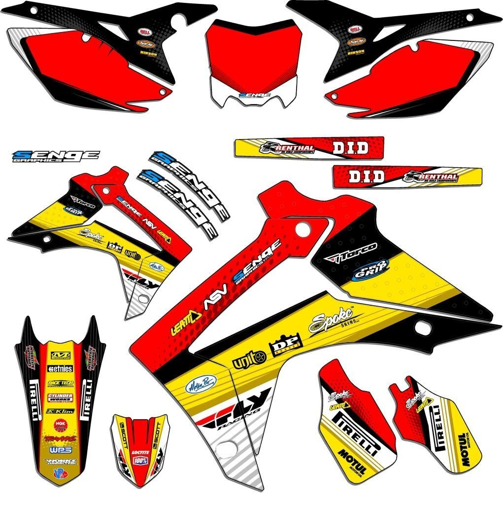 Senge Graphics 2004-2010 Honda CRF 80/100 Riccochet Yellow Graphics kit Senge Graphics Inc. COMINU023727