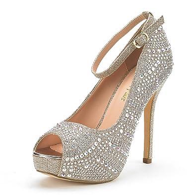 DREAM PAIRS Women s Swan-10 Shine Gold High Heel Plaform Dress Pump Shoes -  5.5 ee51cec12d46