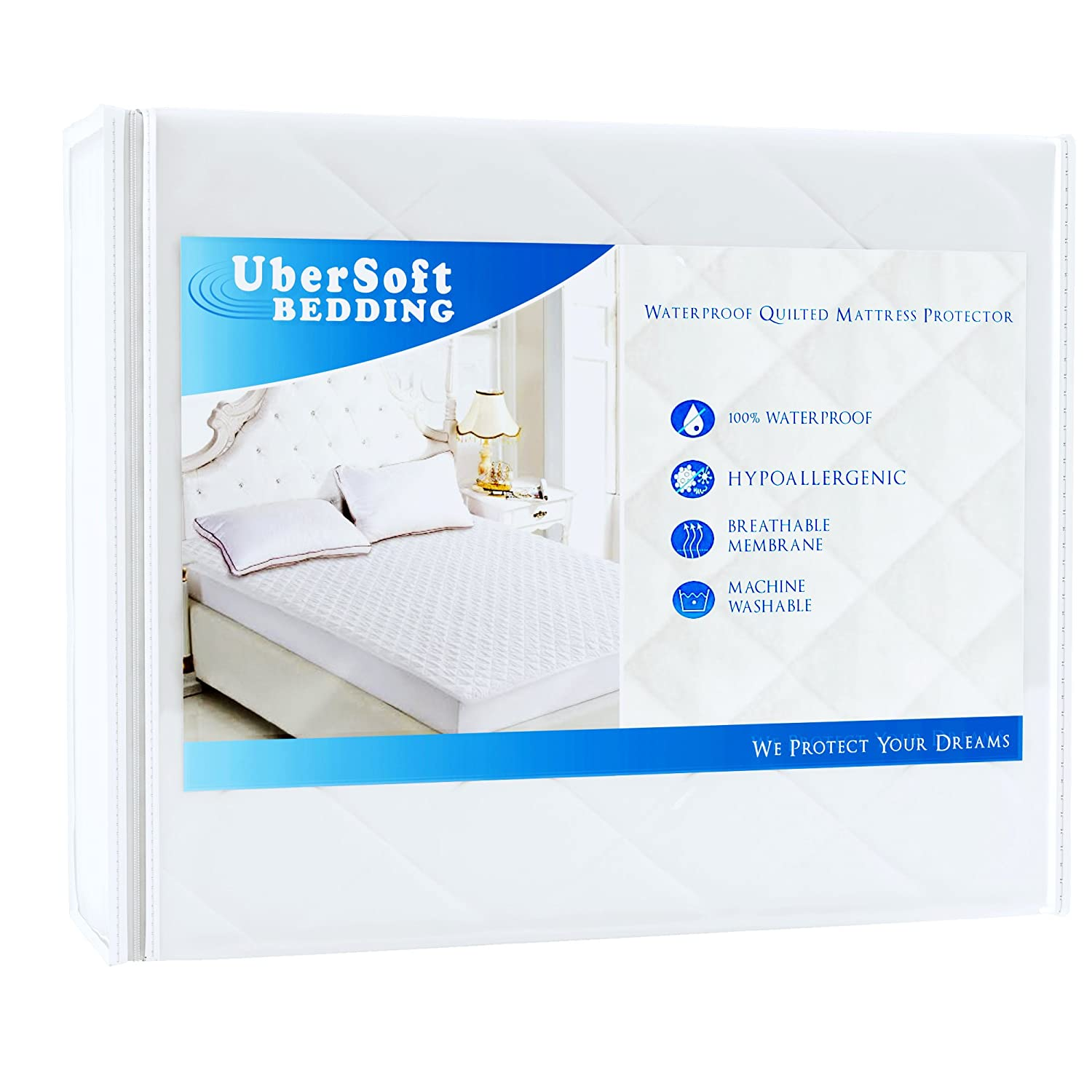 UberSoft Bedding Mattress Protector Pad for Queen Bed: Cover is Waterproof and Hypoallergenic for Accidental Spills, Bed Wetting and Enuresis with Deep Pockets (Queen) 9084322