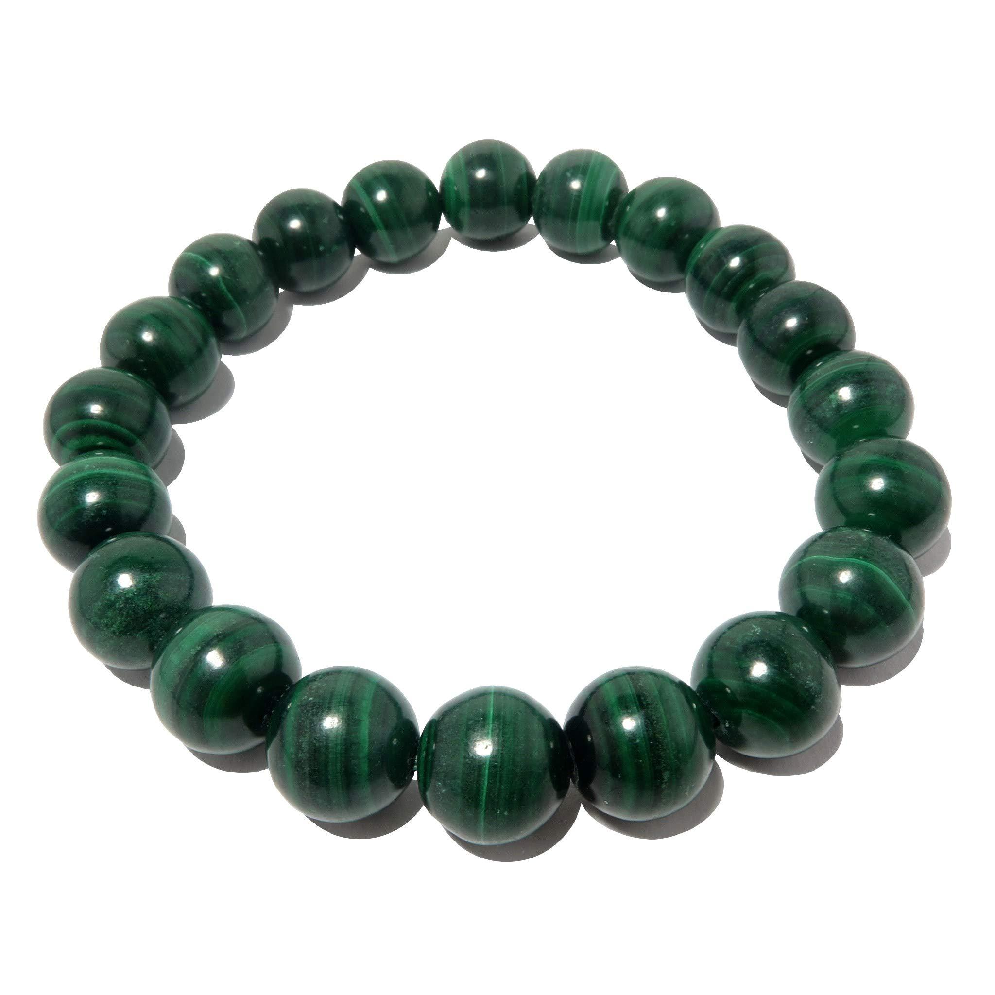 SatinCrystals Malachite Bracelet 9mm Boutique Genuine Banded Green Gemstone Round Stretch Handmade B02 (7.75'')
