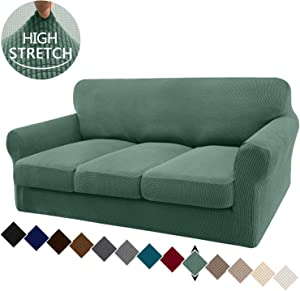 Granbest 4 Piece High Stretch Couch Covers for 3 Cushion Couch Super Soft Fitted Sofa Slipcover Non-Slip Sofa Cover Furniture Protector with Individual Cushion Covers (Large, Matcha Green)