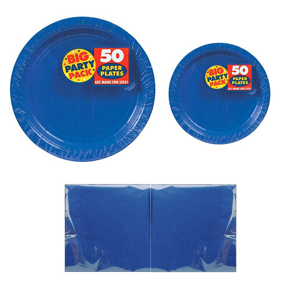 Serves 50 | Big Party Pack Royal Blue 50-Set (Dinner Plates, Dessert Plates, Luncheon Napkins) Party Avenue Bundle-Pack | Complete Party Pack | Baby Shower, Office parties, Birthday Parties, Festivals, Royal Blue Party Theme by Party Avenue