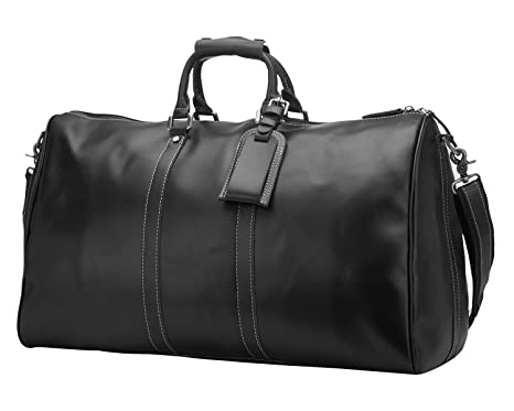 d587ef26c Image Unavailable. Image not available for. Colour: BAIGIO Men Travel Bag  Genuine Leather Tote Shoulder Luggage Weekend Duffle Overnight Bags ...