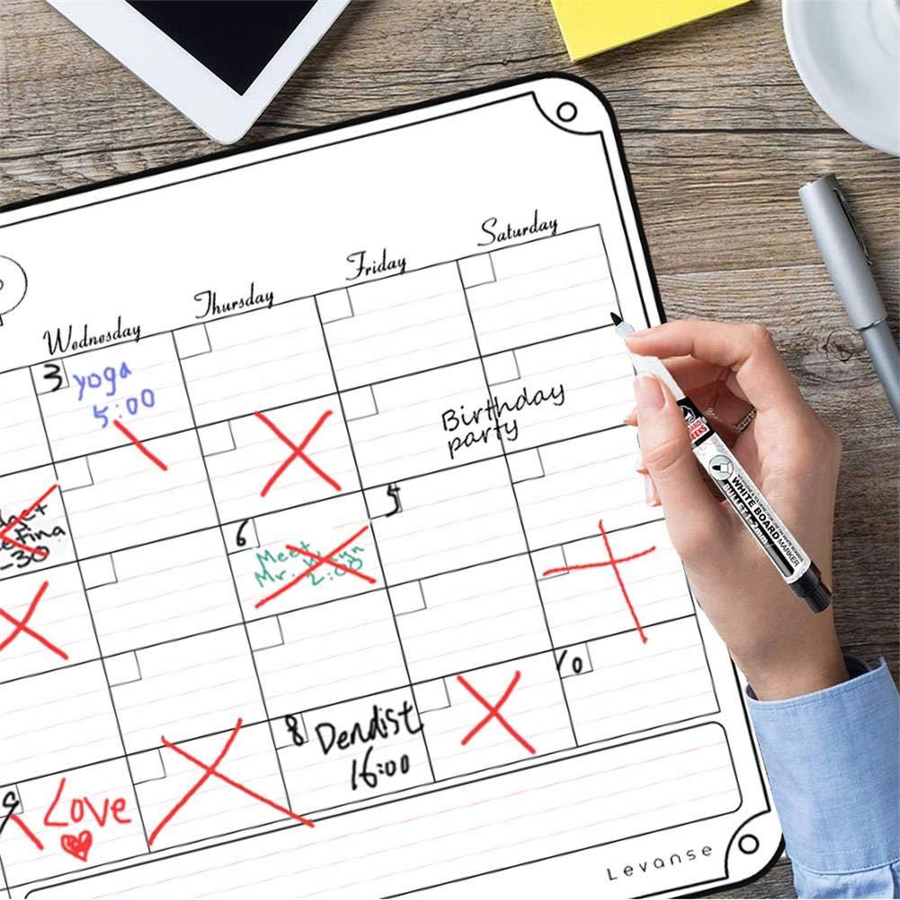 Calendario magn/ético Tablero de frigor/ífico magn/ético Pizarra borrado 16 x 12 en seco Organizador semanal men/ú planificador de Comidas Nota Pizarra Negro Junta