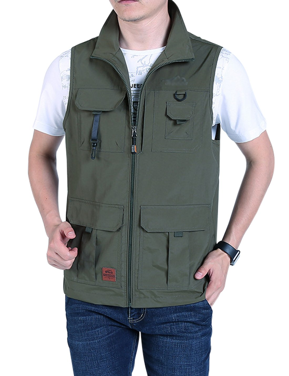 Jenkoon Men's Casual Lightweight Outdoor Travel Fishing Hunting Vest Jacket with Pockets (Olive Green-02, XX-Large) by Jenkoon