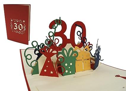Tarjetas de felicitación LIN-POP UP para 30º cumpleaños, tarjetas de cumpleaños, tarjetas, tarjetas de felicitación, 30 años.