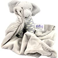 Petite Gray Elephant Cuddle Buddy - Plush Baby / Infant Security Blanket 'Snoot' is 7 Tall sitting up