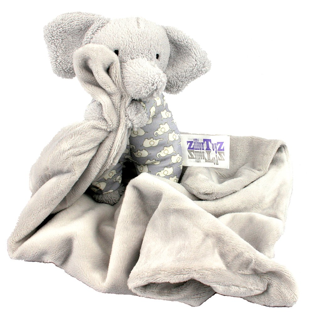 Zillion Toyz Petite Gray Lovey Elephant Cuddle Buddy - Plush Animal Baby/Infant Super Soft Security Blanket 'Snoot' is 7'' Tall sitting up