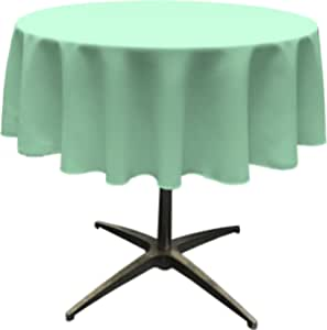 "LA Linen Polyester Poplin Round Tablecloth, 58"", Mint"