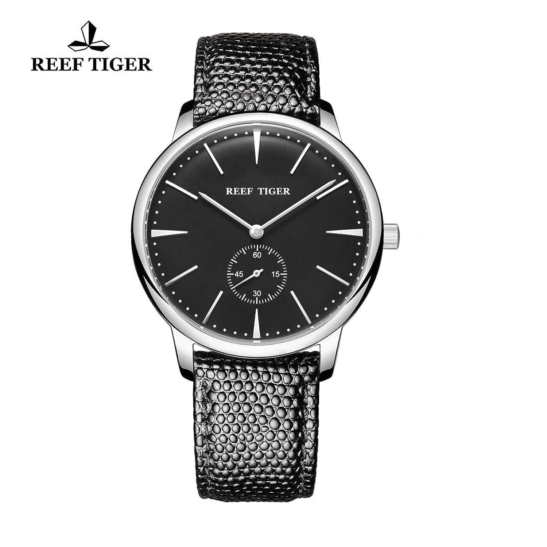 Reef Tiger Paar Uhren Ultra Thin Stahl schwarz Zifferblatt Lederband Herren Armbanduhr rga820