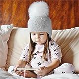 FULLIN Children Knit Hats Baby Boy Girls Hair Hairball Crochet Earbud Hat Winter Warm Knit Hats Cap,Gray