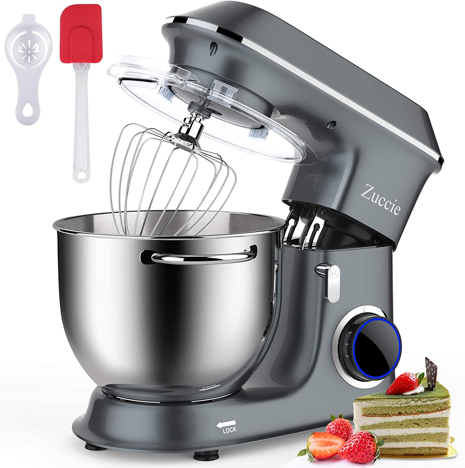 Zuccie Electric Stand Mixer,660W 6+1-Speed Tilt-Head Food Mixer,Kitchen Stand Mixer with 8.5QT Stainless Steel Bowl,Dough Hook, Mixing Beater and Whisk,Splash Guard,Dishwasher Safe (Gray)