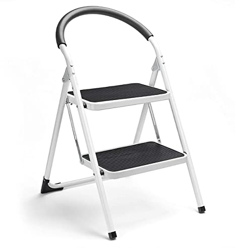 Super Castool Steel Stepladders With Handgrip Anti Slip Sturdy And Wide Pedal Steel Ladder 330Lbs White And Black Combo 2 Feet 2 Step Ladder Folding Step Forskolin Free Trial Chair Design Images Forskolin Free Trialorg
