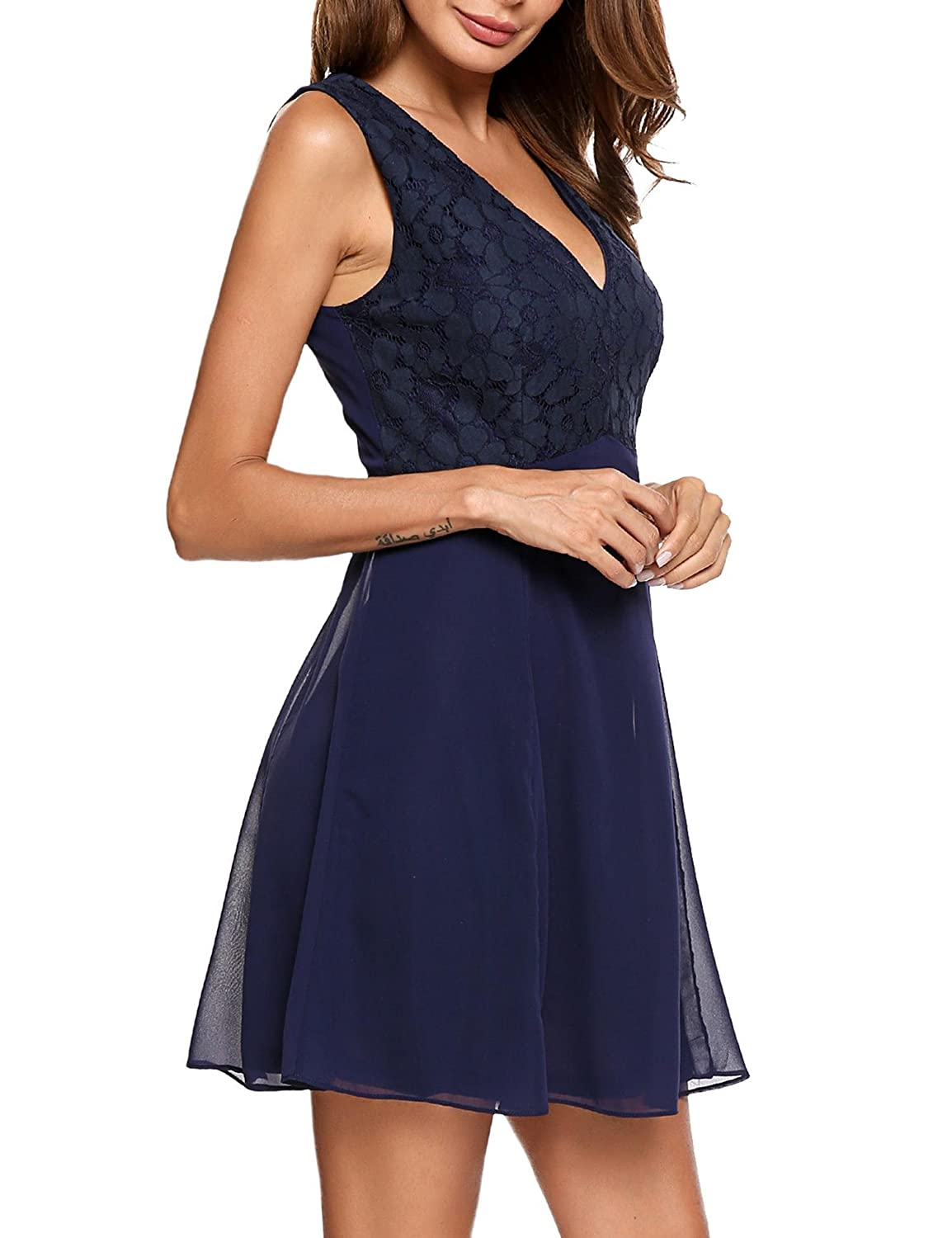 beef3c9ca0c UNibelle Women s Chiffon Lace Dress Deep V Neck Sexy Bodice Knee Length  Cocktail Wedding Party Dress at Amazon Women s Clothing store