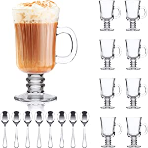 8oz Coffee Mug,QAPPDA Glass Mugs With Handle,Clear Cups With Handle,Glass Cup Tea Cup Drinkware For Beer,Juice,Beverages,High Base Glass Latte Cups Cappuccino Mugs,Irish Coffee Mugs Set of 8 KTZB22