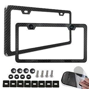 Aootf License Plate Frame Carbon Fiber-2 Pack Black Aluminum License Plate Frames Metal Printing Carbon Fiber Pattern,License Plate Frame Screws Kits,Fine Size for Women Men