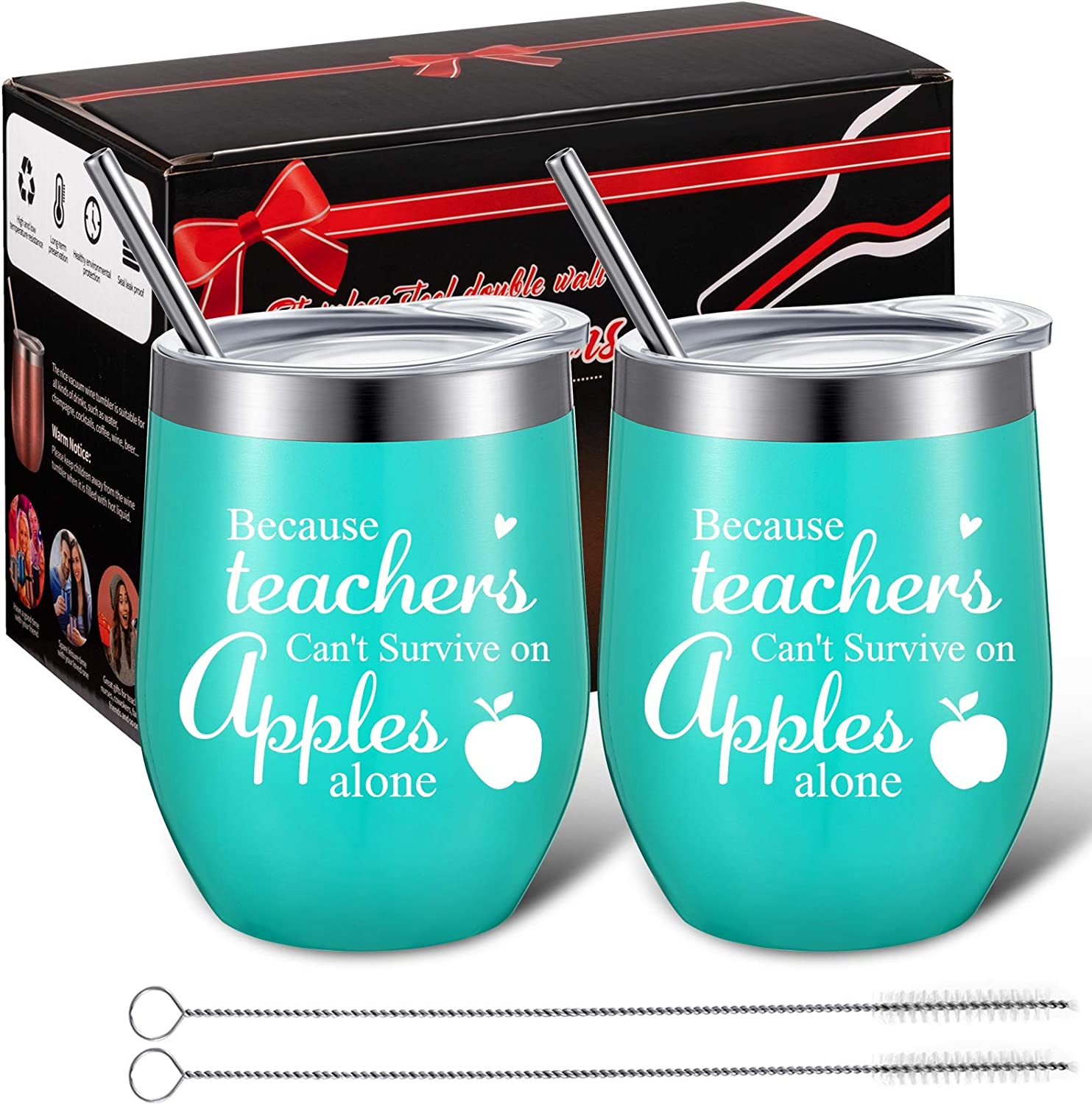 2 Pieces Teacher Can't Survive on Apples Alone, Thank You Teacher Appreciation Gift for Women Funny Birthday Christmas Thanksgiving Teacher Gifts 12 oz Wine Tumbler with Straw and Brush (Mint)