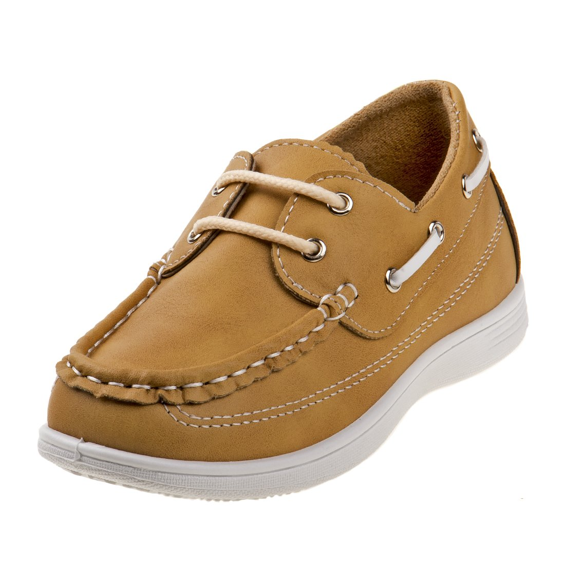 Josmo Boys Boat Shoes, Tan/White, 12 M US Little Kid