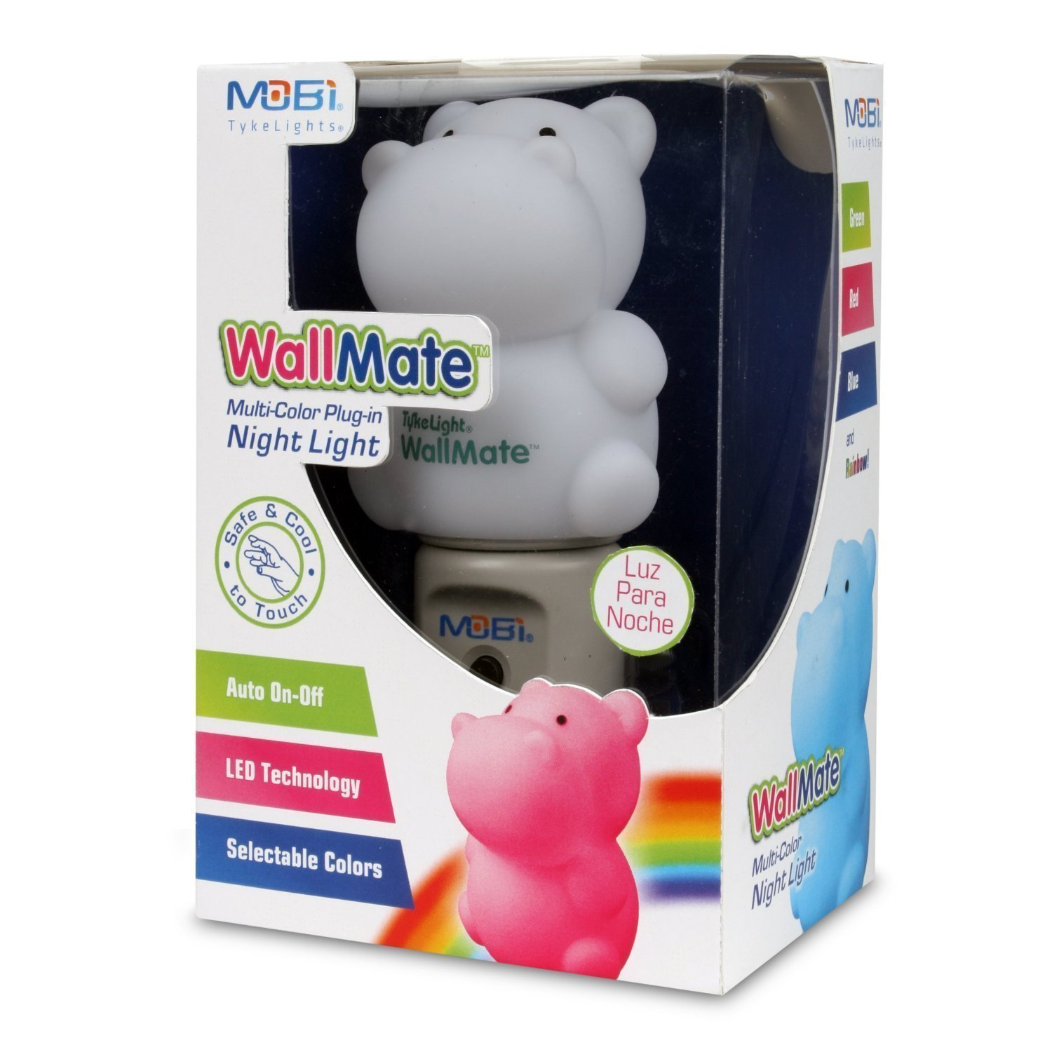 WallMate Cool LED Night Light for Kids, Toddlers & Sleeping Baby - Wall Plug-In Outlet (Hippo)