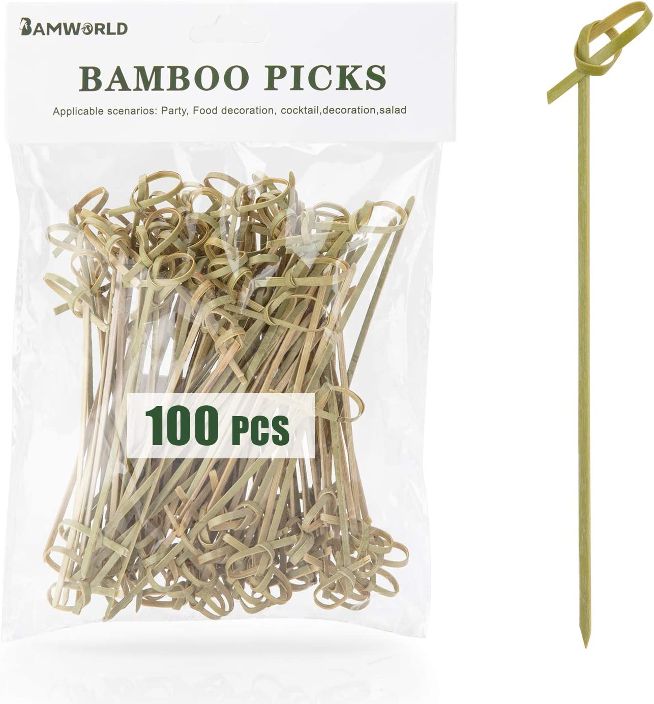 Cocktail Picks Bamboo Skewers Bamboo Food Picks Appetizer Skewers 4.7 Inch Toothpicks with Looped Knot Skewers for Party Fruit and Snacks (Knot, 100)