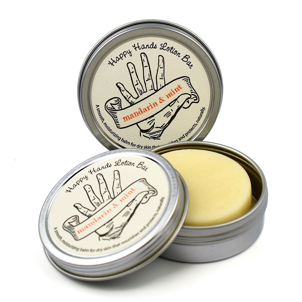 Mint Citrus with Mandarin Happy Hands Natural Beeswax & Shea Butter Solid Lotion Bar Pair. Keeps Skin Moisturized & Protected, Great Idea for Women & Men, Compact & Concentrated by Seattle Sundries