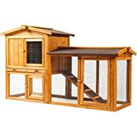 Ogrmar Chicken Coop Large Wooden Outdoor Bunny Rabbit Hutch Hen Cage with Ventilation Door, Removable Tray & Ramp Garden…