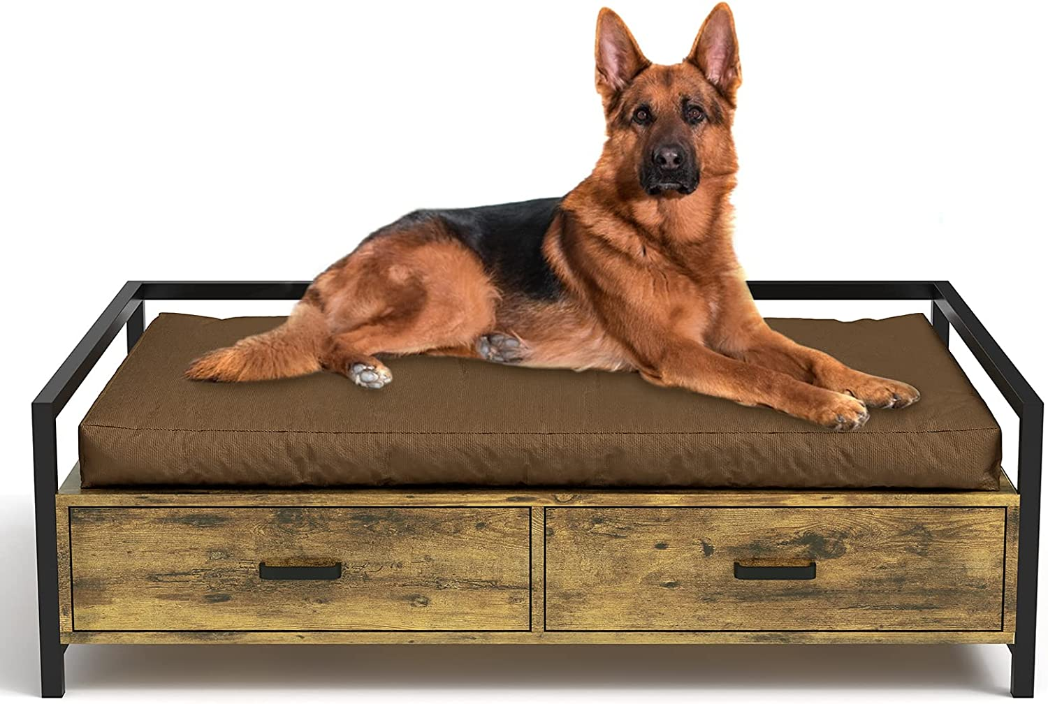 MSMASK Elevated Dog Beds Frame, Dogs Cats Sofa Chair with Drawer, Modern Style Wood and Iron Frame Dog Furniture