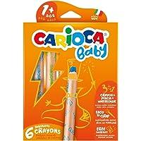 Carioca 3 In 1 Jumbo Bebek Ahşap Gövdeli Boya Kalemi 6'lı (Kalemtraş Hediyeli)