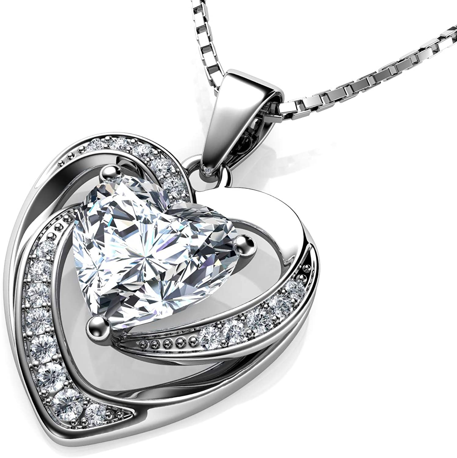 """DEPHINI - White Heart Necklace - 925 Sterling Silver - Branded CZ Crystal Pendant Birthstone - Fine Jewellery Love - 18"""" Premium Rhodium Plated Silver Chain - Cubic Zirconia - Gifts for Women"""