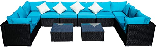 Outdoor Wicker Patio Furniture Sectional Cushioned Rattan Conversation Sofa Sets Black Blue-12 Pieces