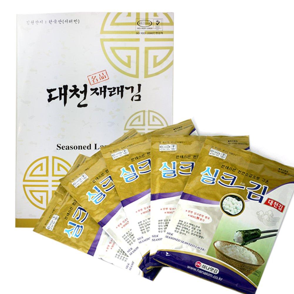 Large Size [ 5 Sheets X 5 Packs] Korean SEASONED Roasted Silk Seaweed (Nori) Laver Snack Gift Set 김