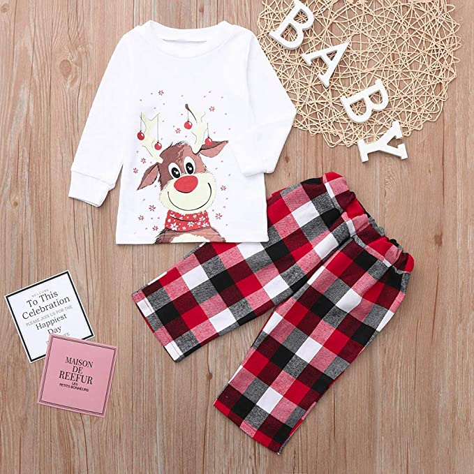 Amazon.com  GzxtLTX Christmas Family Matching Pajama Set Daddy Mommy and Me Christmas  Reindeer Printed with Plaid Sleepwear  Clothing de597c2ab