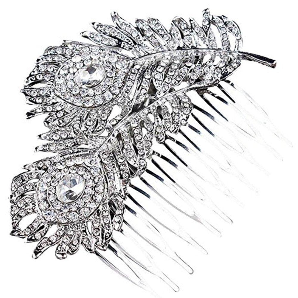 Crystal Bridal Wedding Hair Comb Peacock Feather Shaped Elegant Headpiece Jewelery Qiqilei