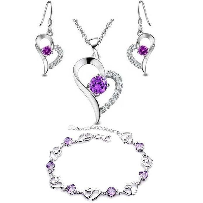 31587bfe23ed Hecho con SWAROVSKI ELEMENTS Conjunto de Joyas Collar Colgante Pulsera  Pendientes Corazón Oro Blanco Enchapado Plata de ley Regalos para Mujer  Púrpura  ...