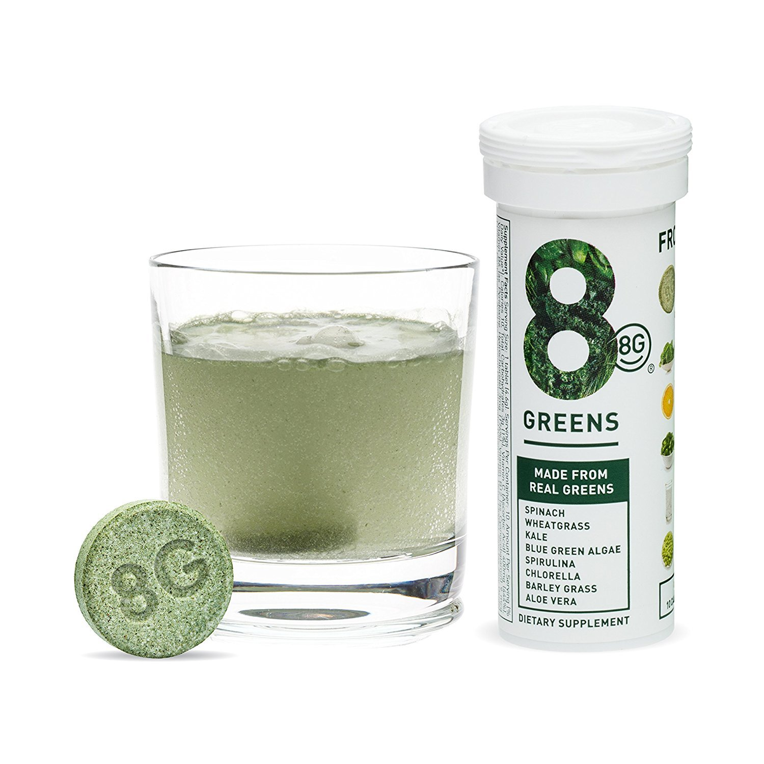 8Greens Effervescent Super Greens Dietary Supplement - 8 Essential Healthy Real Greens in 1-10 Tablets (1 Tube)