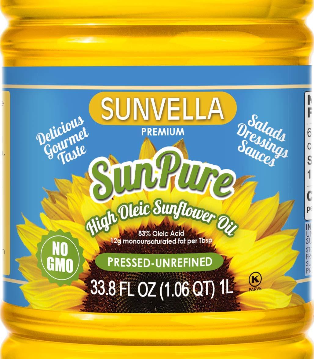 SUNVELLA SunPure Non-GMO High Oleic Sunflower Oil, Pressed-Unrefined (Pack of 2 x 33.8 FL OZ) by SUNVELLA
