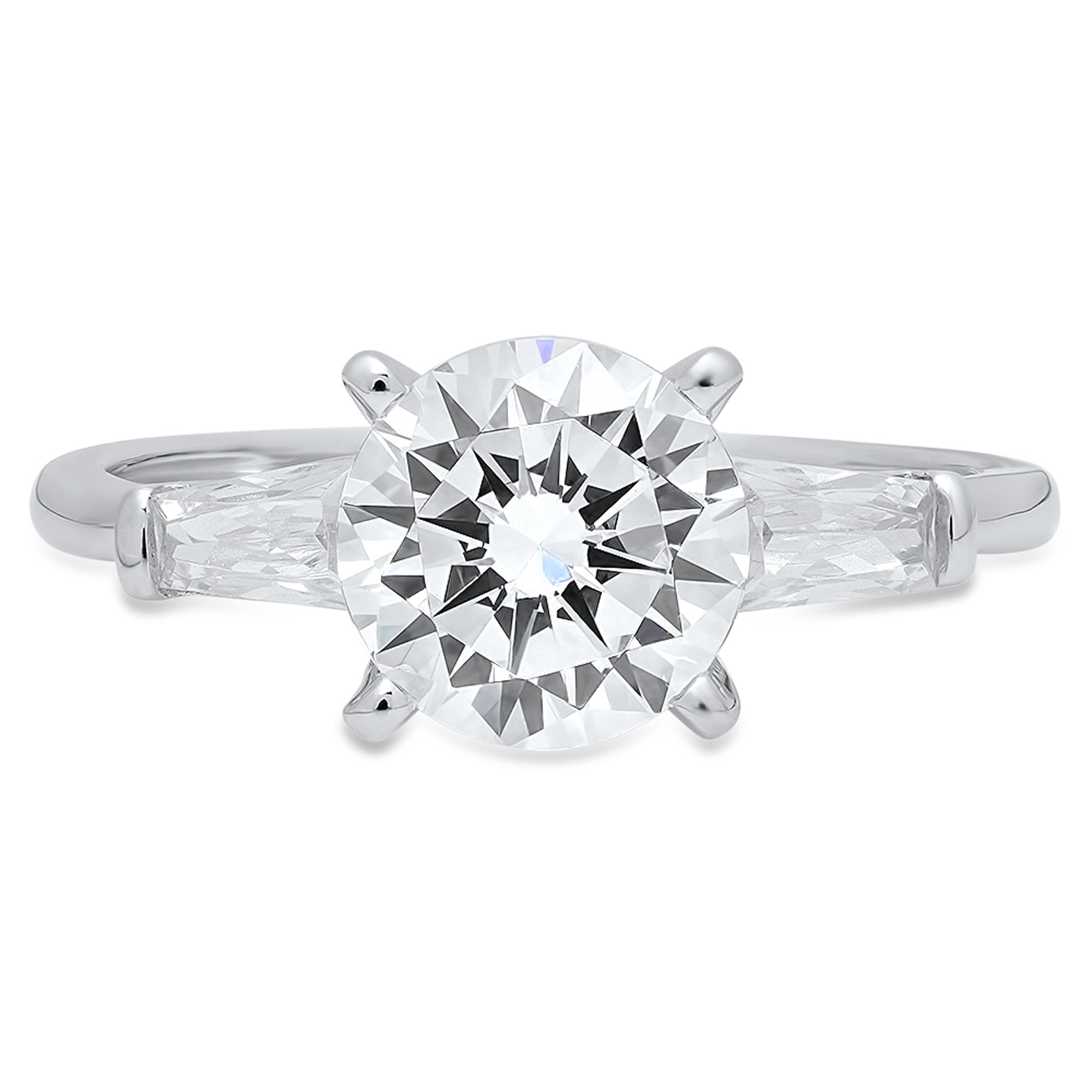2.0 CT Brilliant Round & Baguette Cut Simulated Diamond CZ Designer Solitaire 3-Stone Wedding Anniversary Promise Band Ring Solid 14K White Gold by Clara Pucci