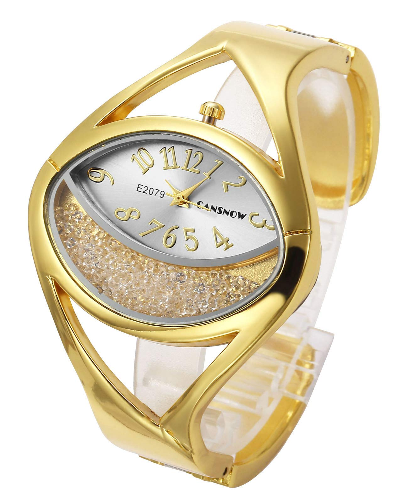 Top Plaza Women Ladies Casual Luxury Gold Silver Tone Alloy Analog Quartz Bracelet Watch Oval Case Rhinestones Decorated Elegant Dress Bangle Cuff Wristwatch-Gold #1